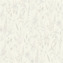 Nami White Slightly Textured Flowers Wallpaper