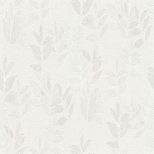 Napali Off-White Slightly Textured Leaf Wallpaper