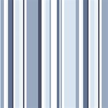 Navy, Blue and Indigo Step Stripe Prepasted Wallpaper