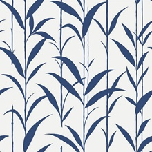 Navy Blue & White Seagrass Leaves Wallpaper