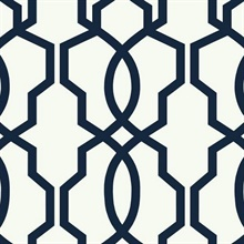 Navy Hourglass Trellis Geometric Wallpaper