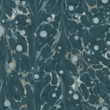 Navy Marbled Endpaper Wallpaper