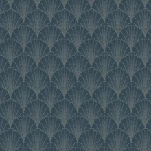 Navy & Silver Scalloped Pearls Wallpaper