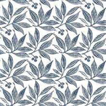 Navy & White Chokeberry Tree Block Print Wallpaper