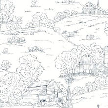Navy & White Farm Pasture Toile Wallpaper
