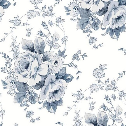 Navy & White Heritage Rose Floral Wallpaper