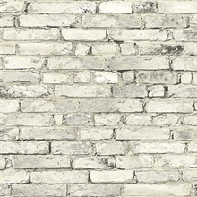 Neutral White Weathered Brick Wallpaper