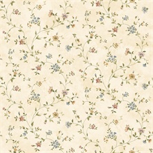 Neutrals Antique Floral Vine Wallpaper