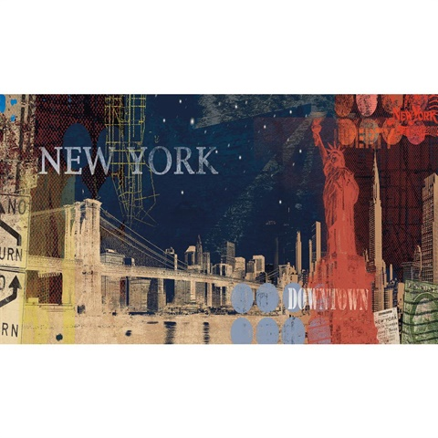 mp4855m new york city small mural. Black Bedroom Furniture Sets. Home Design Ideas
