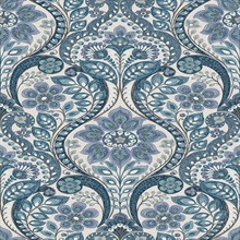 Night Bloom Blue Damask Wallpaper