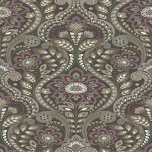 Night Bloom Charcoal Damask Wallpaper