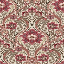 Night Bloom Coral Damask Wallpaper