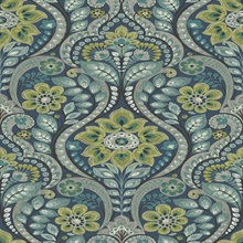 Night Bloom Navy Damask Wallpaper