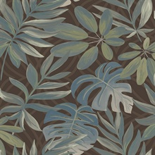 Nocturnum Brown Leaf Wallpaper