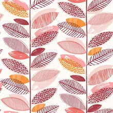 Nyssa Coral Leaves Wallpaper