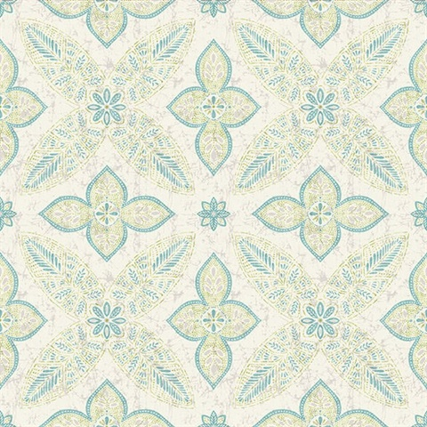 Off Beat Ethnic Turquoise Geometric Floral
