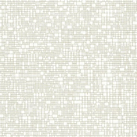 Off White & Gold Wires Crossed Geometric Textured Wallpaper
