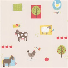 On The Farm Red Patchwork Farm Wallpaper
