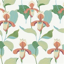 Orange & Blue Lady Slipper Floral Wallpaper