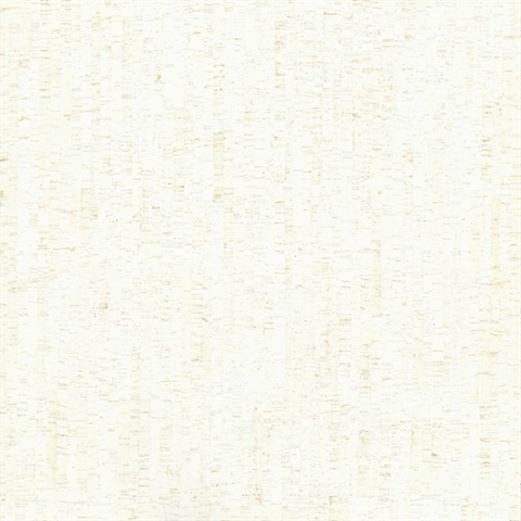 White Plain Bamboo Textured Cork Wallpaper