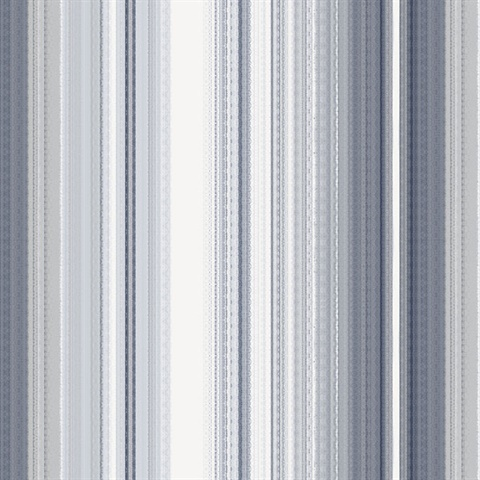 Organic Multistripe Navy & White Wallpaper