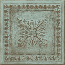 Ornamental Turquoise Tin Tile Wallpaper