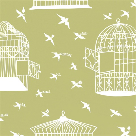 Our Adventure is about to Begin - Afternoon Green colourway wallpaper