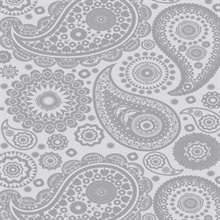Paisley Crescent - Concrete colourway wallpaper