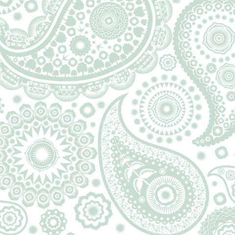 Paisley Crescent - Pale Verdigris colourway wallpaper