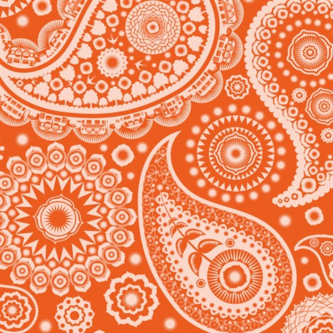Paisley Crescent - Tangerine Dream colourway wallpaper