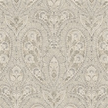 Paisley Taupe & Grey Wallpaper