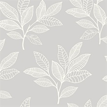 Paradise Leaves Light Grey Wallpaper