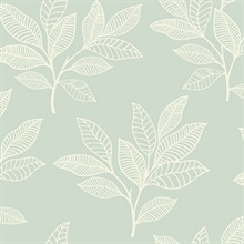 Paradise Leaves Mint Green Wallpaper
