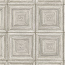 Parquet Geometric Beige Wood Squares Wallpaper