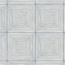 Parquet Geometric Blue & Ivory Wood Squares Wallpaper
