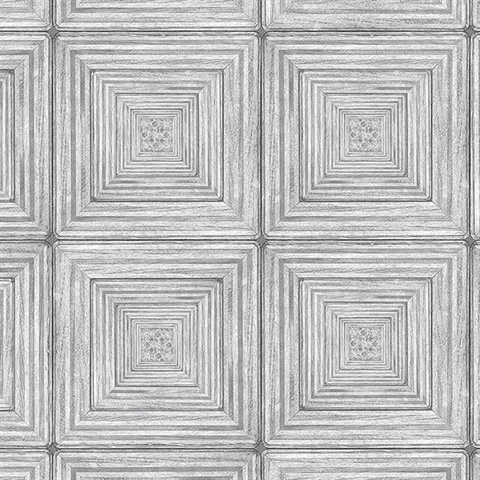 Parquet Geometric Grey Wood Squares Wallpaper