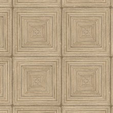 Parquet Geometric Light Brown Wood Squares Wallpaper