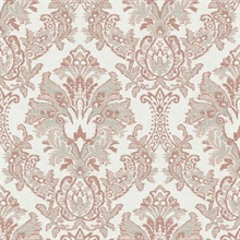 Peach Bold Borcade Damask Wallpaper