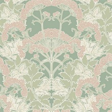 Peach & Green Yarrow Nouveau Wallpaper