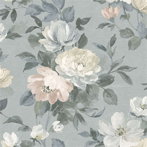 Peony Grey Floral Wallpaper