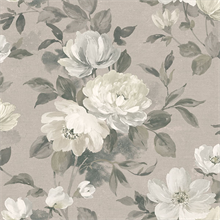 Peony Light Grey Floral Wallpaper