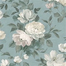 Peony Slate Floral Wallpaper