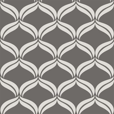 Petals Grey Ogee Wallpaper