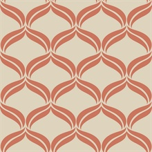Petals Orange Ogee Wallpaper