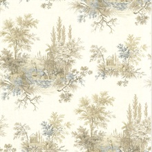 Pictorial Taupe Romance Toile Wallpaper