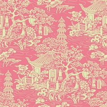 Pink & Green Commercial Oriental Scenic Wallpaper