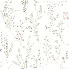 Pink, Green & Grey Wildflower Sprigs Floral Wallpaper