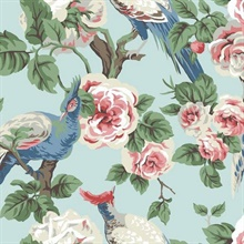 Pink, Navy & Blue Garden Plume Wallpaper