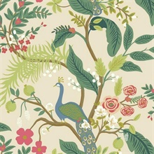 Pink Peacock Animal Print Rifle Paper Wallpaper