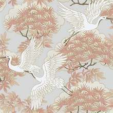 Pink Sprig & Heron Wallpaper